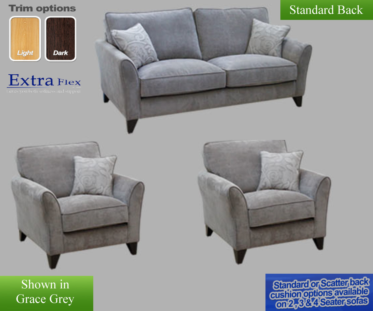 Buoyant Fairfield Plain 3 Seater Sofa and 2 Chairs