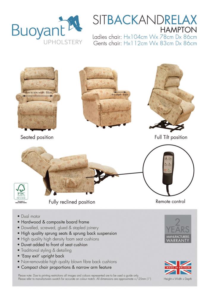 ... Buoyant Hampton Dual Motor Lift And Rise Recliner Chair