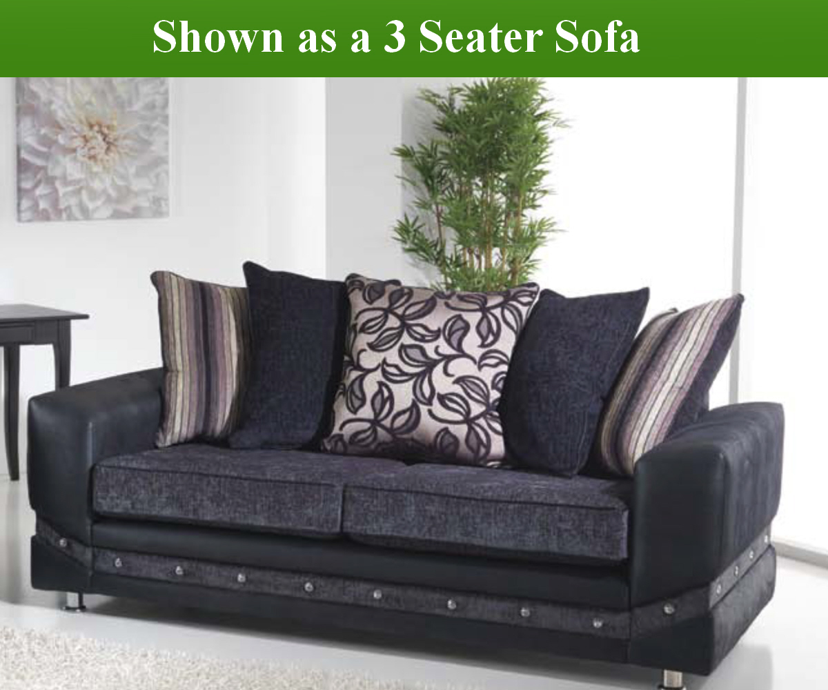 Red Rose Glitz 3 Seater Sofa and 2 Seater Sofa