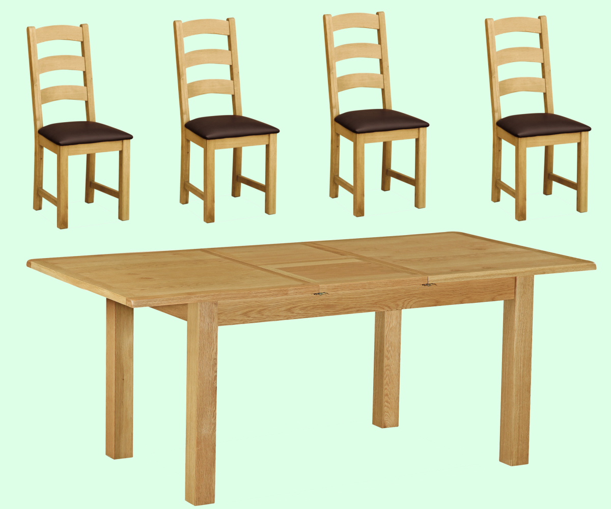 Intotal Little Baddow Small Dining Set With 4 Chairs