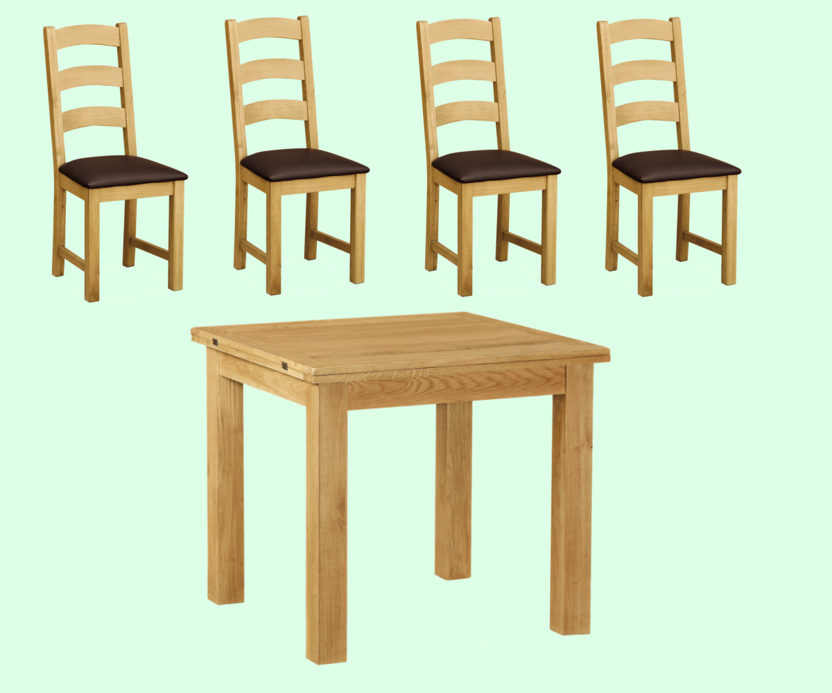 Intotal Little Baddow Square  Dining Set with 4 Chairs