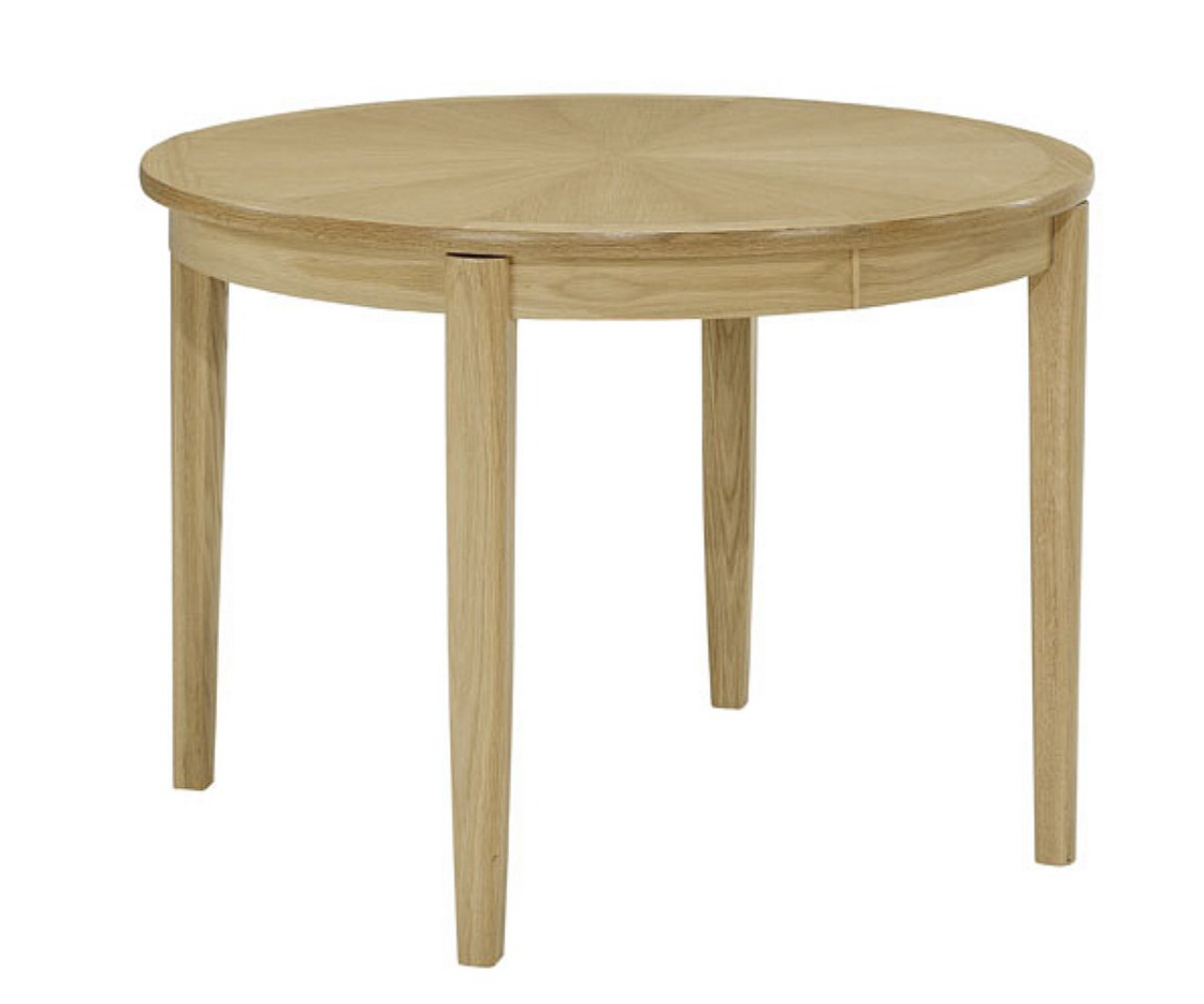 Circular dining table on legs view