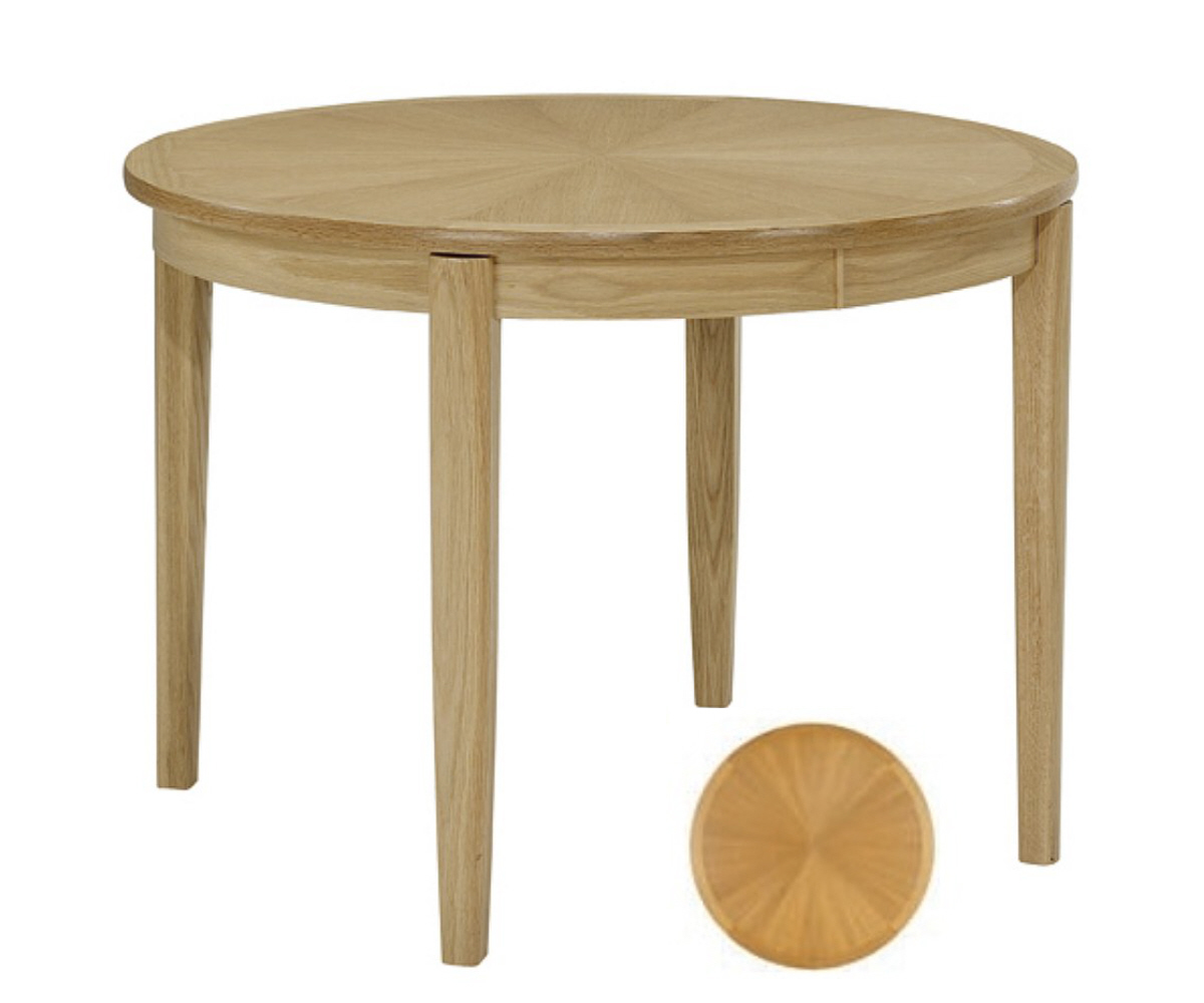 Nathan Shades Oak 2905 Circular Table on Legs Sunburst Top