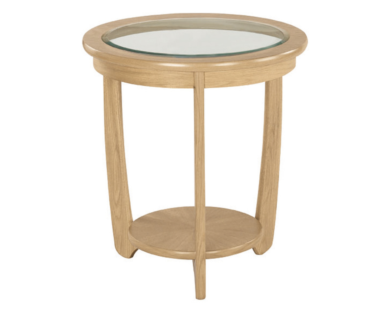 Nathan Shades Oak 5815 Glass Top Round Lamp Table