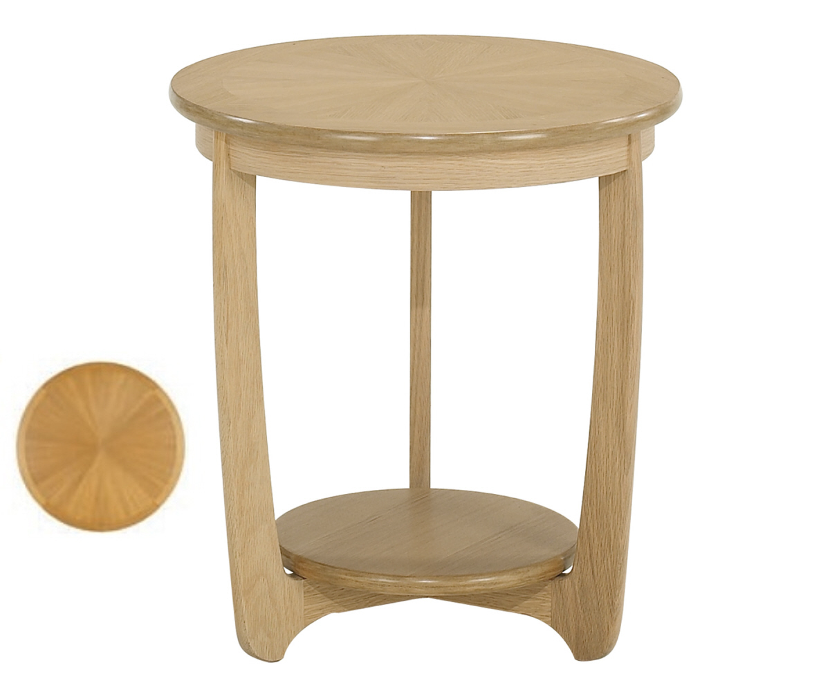 Nathan Shades Oak 5825 Sunburst Top Round Lamp Table