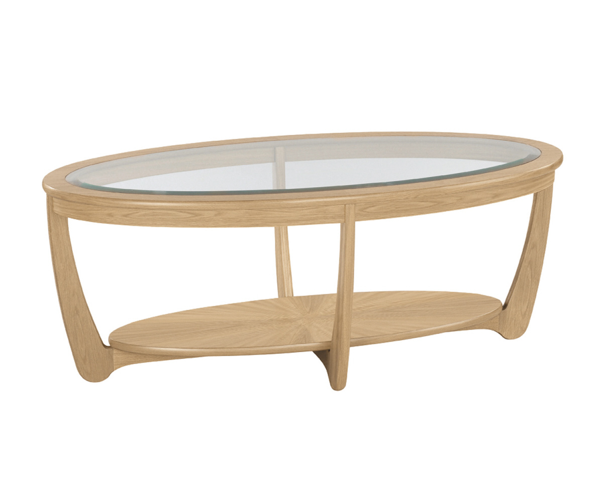 Nathan Shades Oak 5835 Glass Top Oval Coffee Table