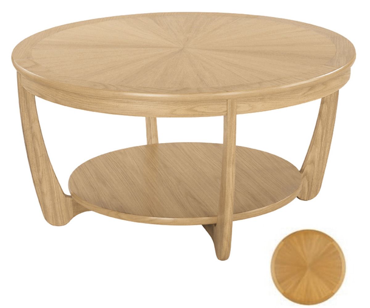Nathan Shades Oak 5925 Sunburst Round Coffee Table Coffee Tables