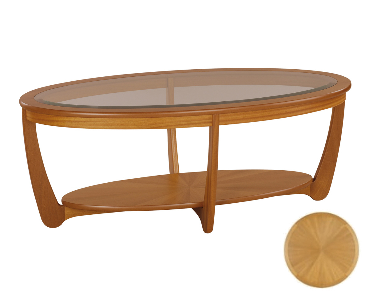 Nathan shades teak 5834 glass top oval coffee table for Oval teak coffee table