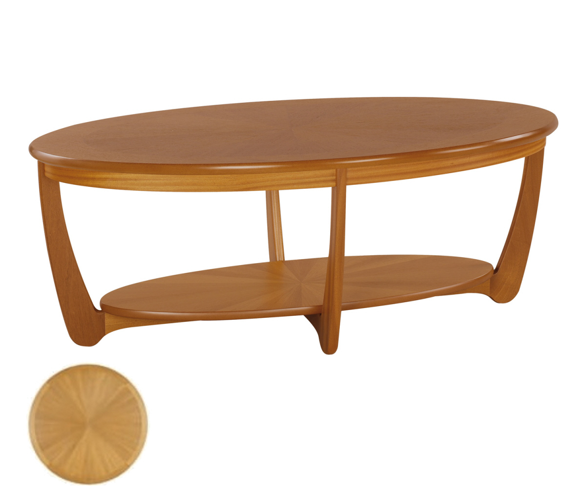Nathan shades teak 5844 sunburst oval coffee table