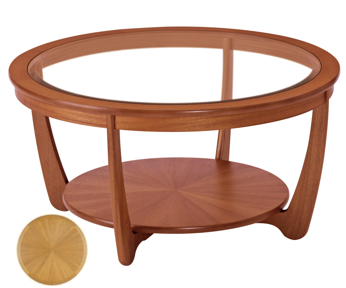 Nathan Shades Teak 5914 Glass Top Round Coffee Table Coffee Tables