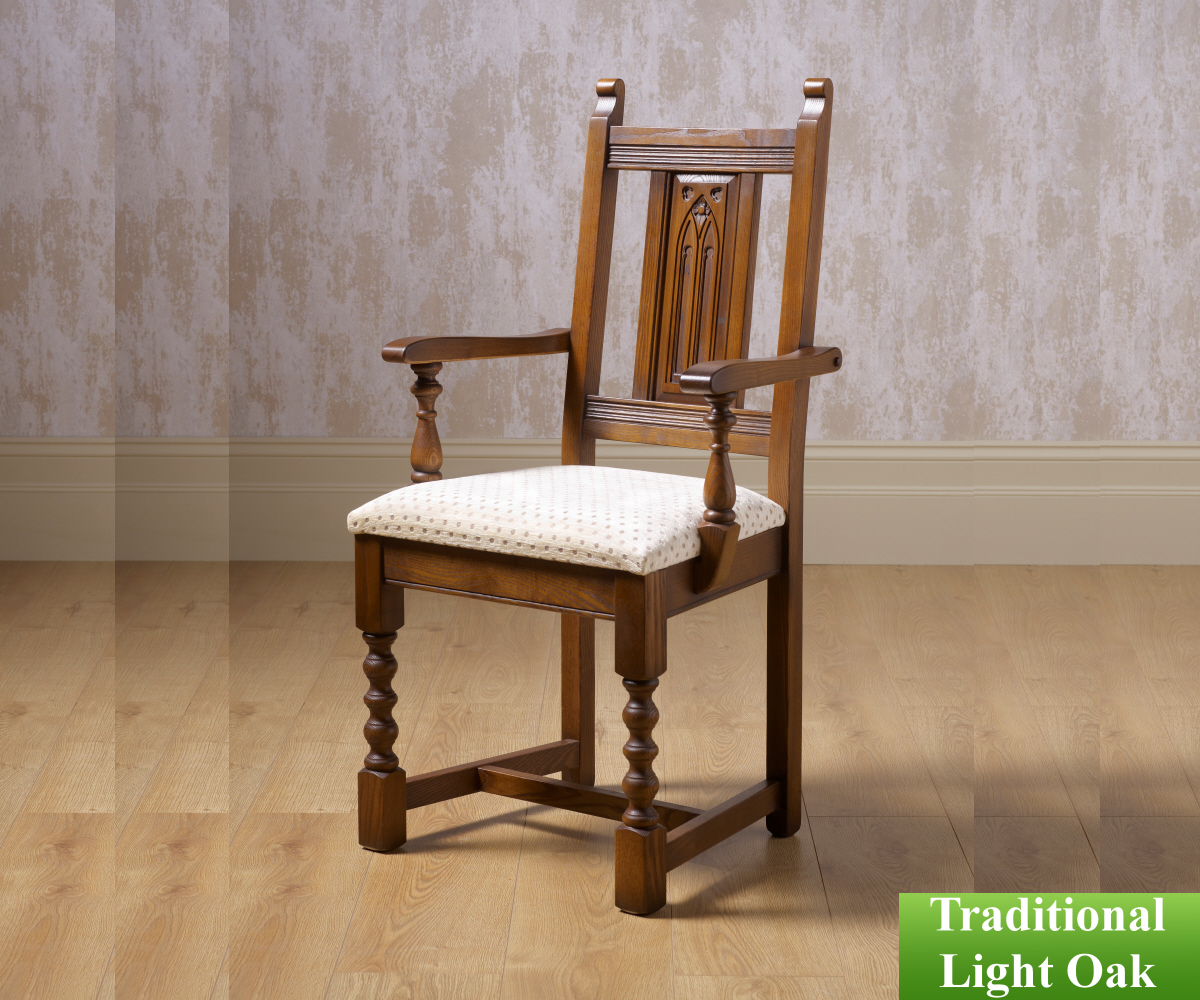 Old Charm Classic 2287 Warwick Fabric Dining Carver Chair