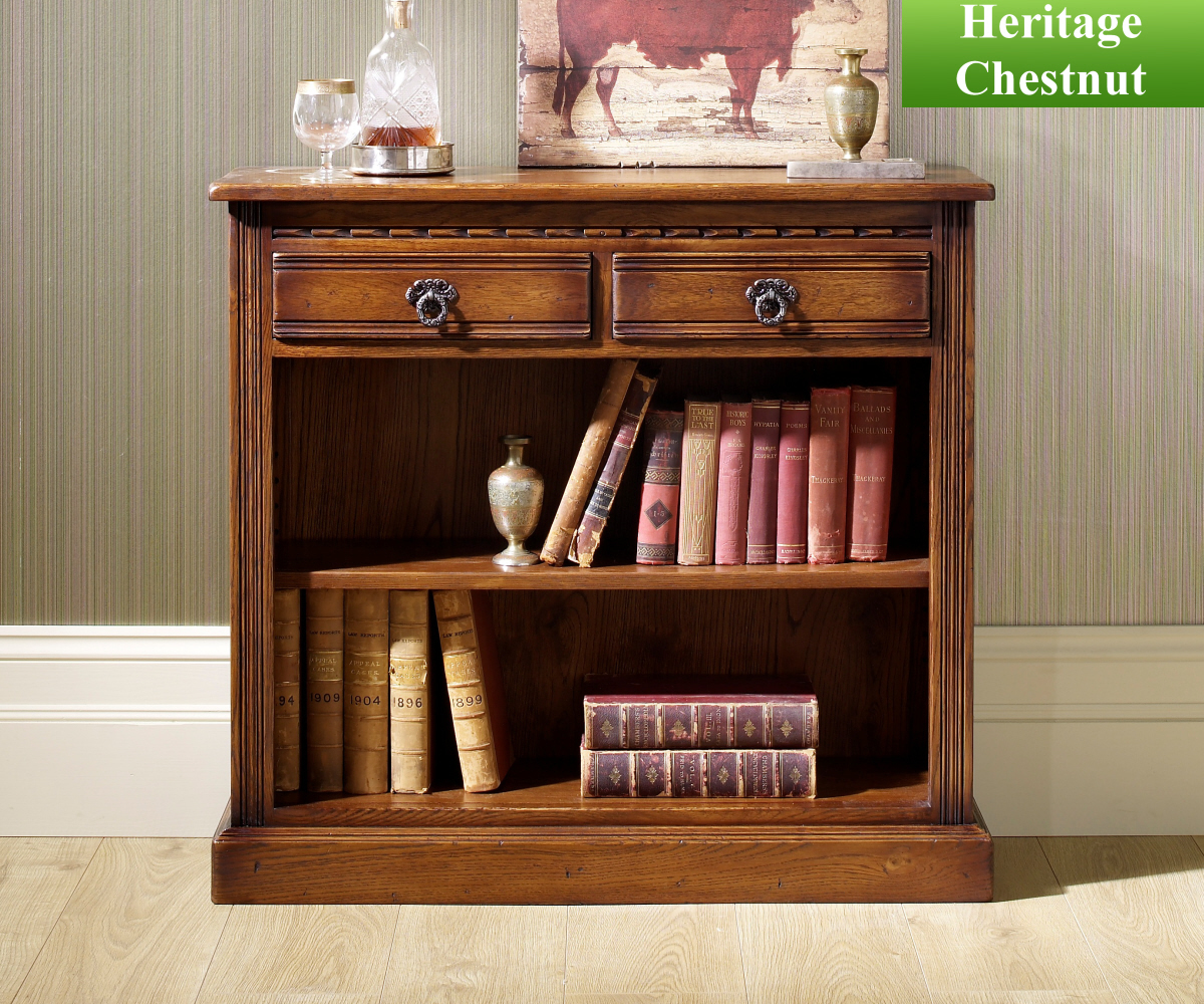 Old Charm Classic 2792 Low Open Bookcase with Drawers