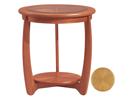 Nathan Shades Teak 5814 Glass Top Round Lamp Table