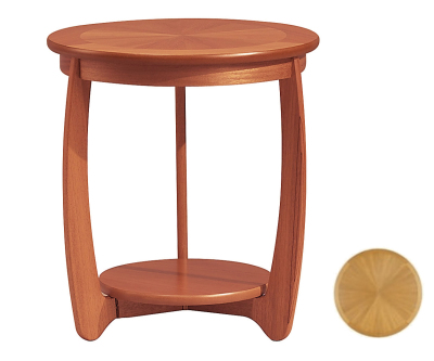 Nathan Shades Teak 5824 Sunburst Top Round Lamp Table